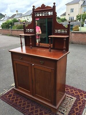 Quality Mahogany Little Sideboard Cabinet With Display Mirrored Back