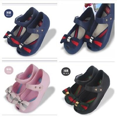 New Mini Melissa Girl's British College Wind Bow Tie Kid Shoes US Size 6-11