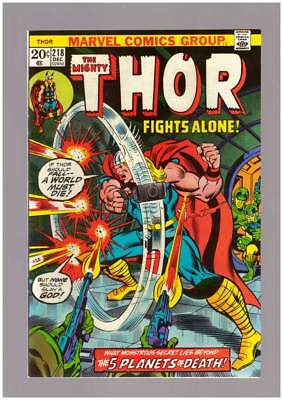 Thor # 218  The Five Planets of Death !  grade 8.5 scarce book !