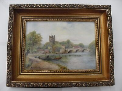 Royal Worcester Plaque Of A Rustic River Scene Signed A. Badham Mint No Reserve.