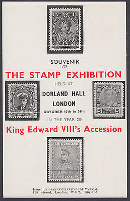 1936 The Stamp Exhibition KGV Adveting Meter; KEVIII Accession Year Souvenir PC