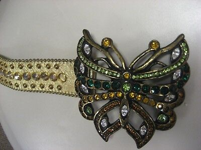 Vintage signed B.B. Simon blingy Swarovski crystals butterfly gold leather belt