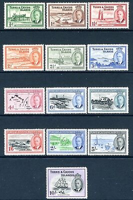 TURKS & CAICOS ISLANDS-1950 Set to 10/- Sg 221-233 LIGHTLY MOUNTED MINT V19355