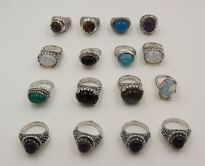 16Pcs.Lot Adorable Fire Opal & Multi Stone 925 Silver Plated Lovely Ring KA9913