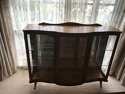 Vintage Retro Drinks Cabinet Eames buffet crystal cabinet BOW FRONT display unit