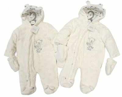 Baby Boy Girl Snowsuit Fur All In One Coat Cream Newborn 0-3 Months 3 - 6 Months