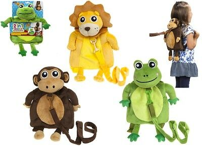 """Toddler Reins Travel Pals Safety 2in1 Harness & Backpack 12"""" Soft Animal Fun"""