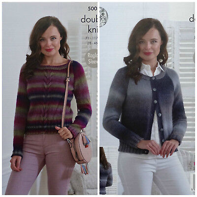 KNITTING PATTERN Ladies Round Neck Cable Jumper/Cardigan Riot DK King Cole 5005