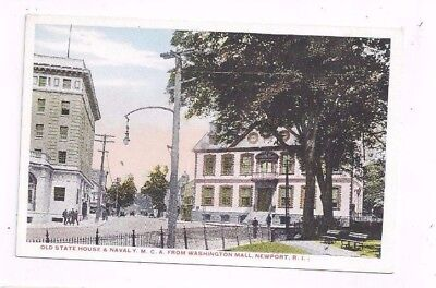 RI Newport Rhode Island antique wb post card Old State House & Naval Y.M.C.A.
