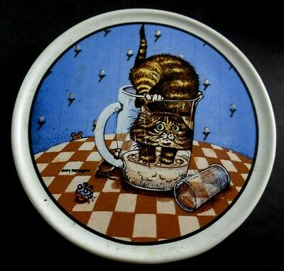 Gary Patterson Crazy Cat Lady CAT IN DRINK PITCHER Heavy Ceramic Coaster