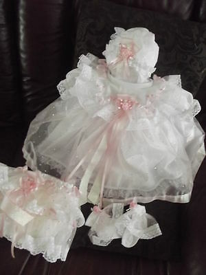 "DREAM 0-3 month BABY GIRLS PINK SILVER SPARKLES DRESS hbd or 20-24"" REBORN dolls"
