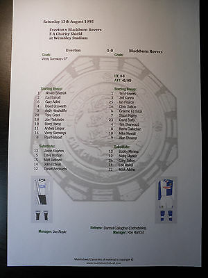 1995 FA Charity Shield Everton v Blackburn Rovers Matchsheet
