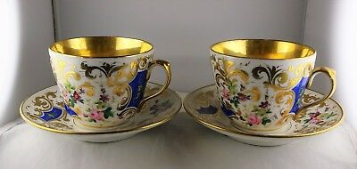 "Pair of Antique Porcelain Oversize ""Joke"" Floral Cup & Saucer Sets Inscribed"