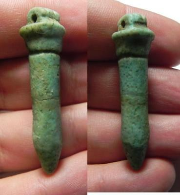ZURQIEH -ev1- Ancient Egypt. Large Faience Papyrus Sceptre Amulet. Late Period.