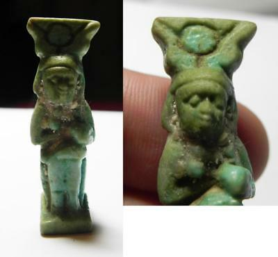 ZURQIEH -ev16- Ancient Egypt. Faience Isis nursing Horus Amulet. Late Period. 60