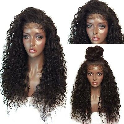 UK Long Full Wavy Front Lace Wig Afro Kinky Curly Natural Hair Wigs Women Black