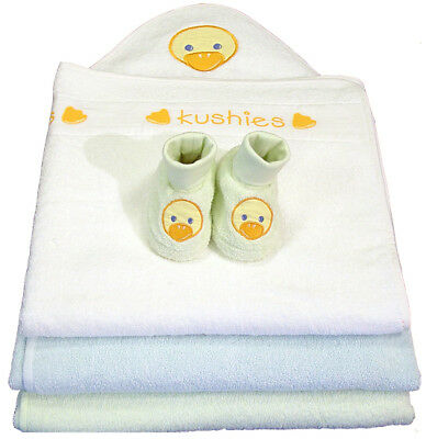 Kushies Deluxe Hooded Towel and Bootie Set