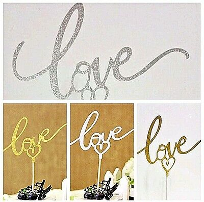 Love Cake Topper Silver Gold Wedding Engagement Anniversary Shimmer Pretty