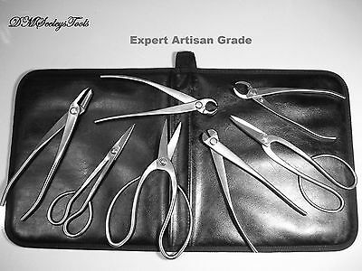 Bonsai 8 Pc Stainless Steel Tool Set Expert Grade in fine Leather  & FREE S.H.