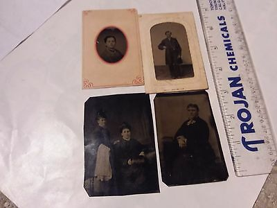 4 Vintage Photos - Tin Type  - Men And Women