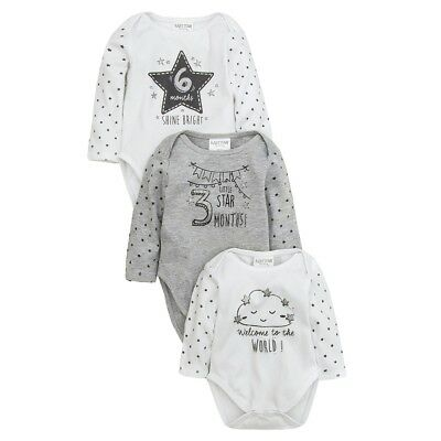 Baby Gift 3 Pack of Milestones Bodysuits Neutral Grey & White newborn-3-6 months