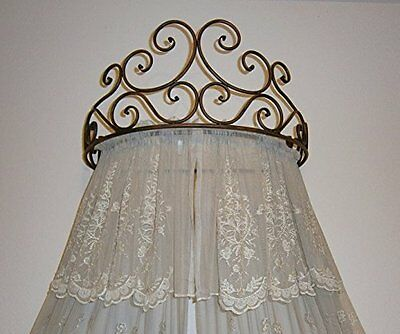 Metal Wall Bed Canopy Drapery Crown Cherry.