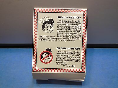 "Vintage Bobs Big Boy Standup table sign "" Should He Stay or Go?"", 1970's,1980's?"