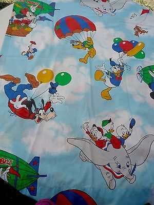 VINTAGE Walt DISNEY MICKEY MOUSE HOT AIR BALLOON Twin FLAT BED SHEET Excellent