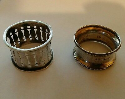 vintage antique sterling solid silver napkin rings. Possible scrap. 28 grams