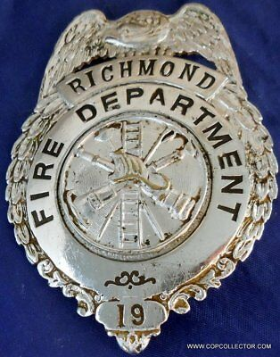 Vintage, Obsolete Richmond, California Fire Department Badge