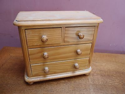 "Miniature Solid Pine 2 Over 2 ""apprentice"" Chest Of Drawers *apothecary / Herbs*"