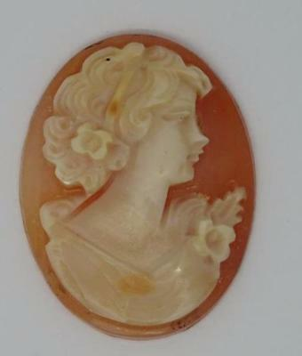**vintage Carved Shell Lady Cameo (22833)**