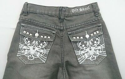 """Old Skool Boys Jeans Gray and White Denim Embroidered Boys Size 12 Inseam 27"""""""