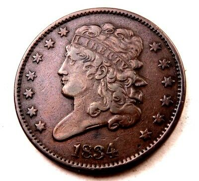 1834 Classic Head Half Cent // Uncirculated-AU // (HC0802)