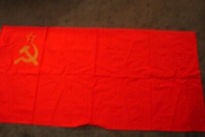 """Vtg 80s Russian Soviet USSR Red Flag Gold Hammer And Sickle Large 61"""" X 30"""""""