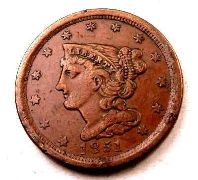 1851 Braided Hair Half Cent // Uncirculated-AU // (HC800)