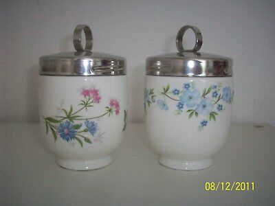 Crown Staffordshire Pair Of Floral Egg Coddlers