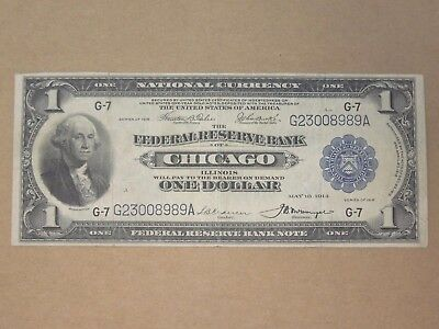 1918 Us Federal Reserve Large Note $1 Chicago Il G-7 Blue Seal