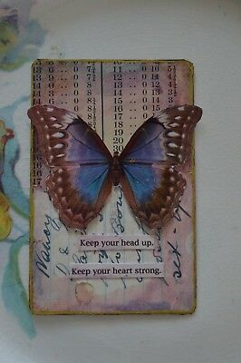 Keep Your Head Up, Keep Your Heart Strong - A Collaged Altered Playing Card Aceo