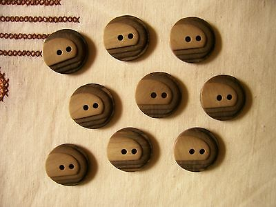 9 new Art Deco style brown plastic buttons with 'stepped' top 2 cms.diameter