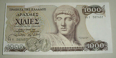 Banknote 1000 drachmas Greece 1987, series 14 I - paper money