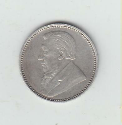 Scarce South Africa 1897 Silver (.925) Sixpence, GF/Fine, Only 220,000 Minted