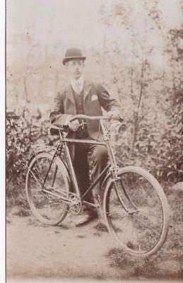 RP SMART GENT WITH BICYCLE CYCLE WITH LAMPS  REAL PHOTO c1908
