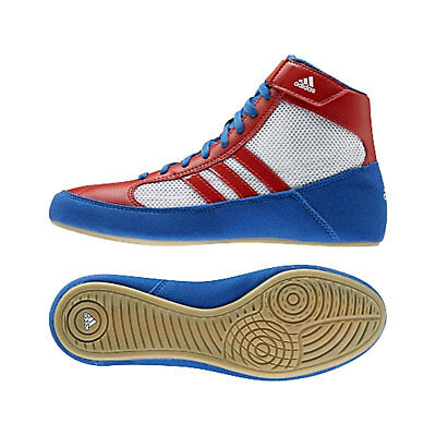 Adidas Havoc Kids Wrestling Shoes Boots Trainers Childrens Blue White Red