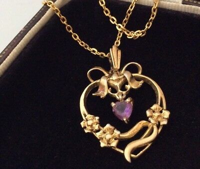 Vintage Jewellery Delightful Amethyst & Heart Drop Pendant And Chain