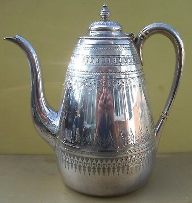 Superb Antique Victorian sterling silver coffee pot, 942 grams, 1877