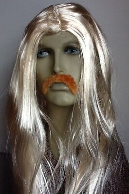Men's Long Blonde Straight Fancy Dress Wig &  Droop Moustache. Self Adhesive .