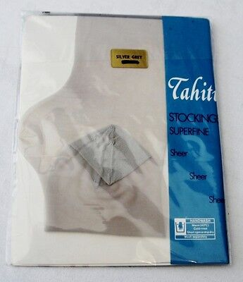 Vintage Tahiti Silver Grey Brown or Cream Sheer Nylons Superfine Stockings M