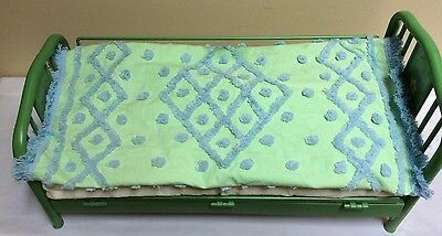 American Doll Trundle Bed Includes Green Bedspread, Green Bed Frame, Mattress