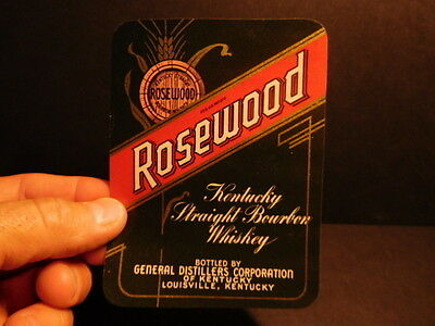Vintage 1940's era ROSEWOOD KENTUCKY STRAIGHT BOURBON WHISKEY paper label